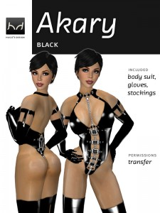Akary latex body with buckles and chains